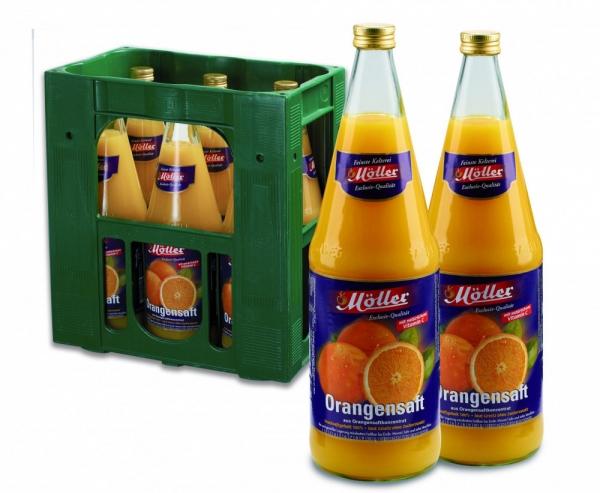 Möller Orangensaft 6x1l Glas (+Pfand 2,40€)