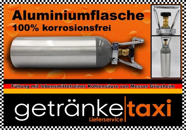 Aluminium Kohlensäureflasche 2kg gefüllt NEU