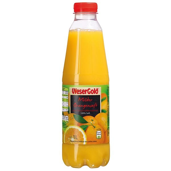 WeserGold Milder Orangensaft 1l PET Flasche