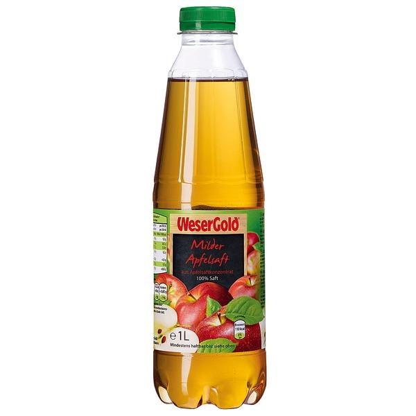 WeserGold Milder Apfelsaft 1l PET Flasche